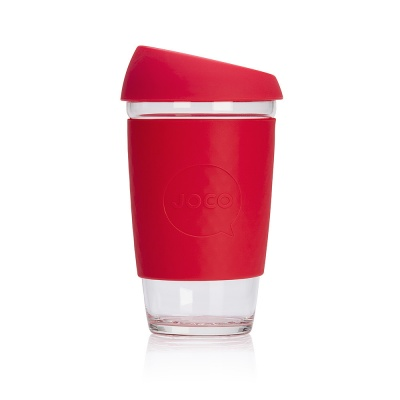 JOCO Cup Reusable Glass Coffee Cup 16oz - Red