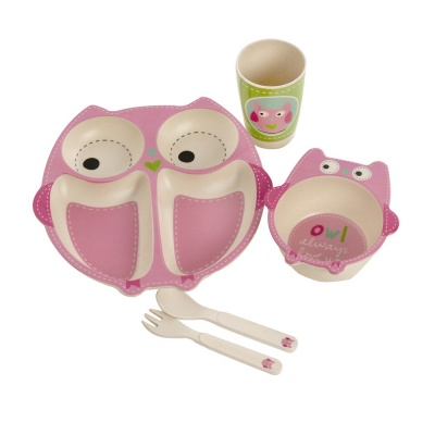 Kids Bamboo Dinner Set - Owl