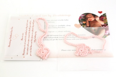 Umbilical Cord Ties & Matching Adult Bracelet - Baby Pink