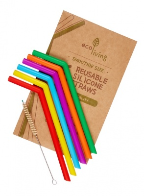6 Reusable Silicone Straws & Plant-Based Cleaning Brush (Plastic-Free & Vegan)