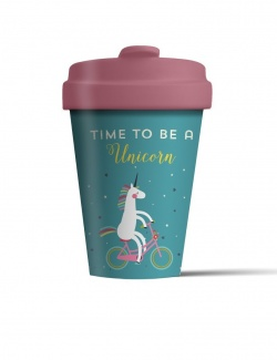 Bamboo Coffee Cup with Bamboo Lid - Time for Unicorns