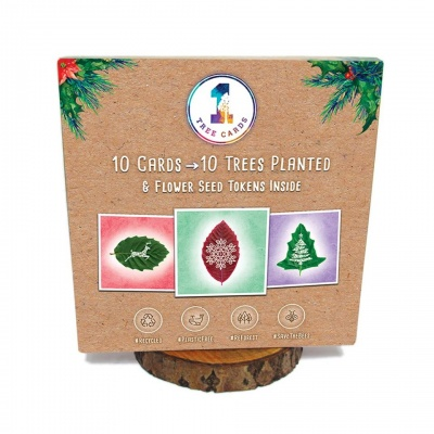 10 Recycled Leaf Design Christmas Cards - 10 Trees Planted