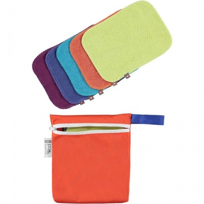 Pop-in 10 Reusable Bamboo Baby Wipes - Brights (with wet bag)