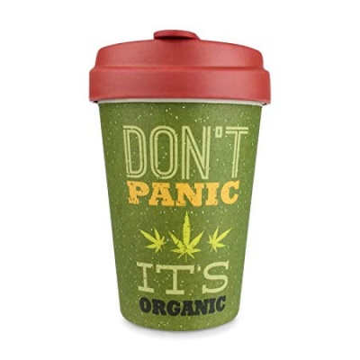Bamboo Coffee Cup with Bamboo Lid - Don't Panic It's Organic