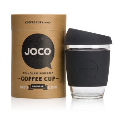 JOCO Cup Reusable Glass Coffee Cup 12oz - Black