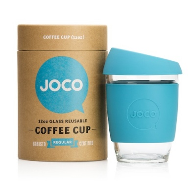 JOCO Cup Reusable Glass Coffee Cup 12oz - Blue