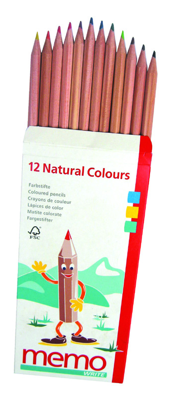 12 Wooden Natural Coloured Pencils