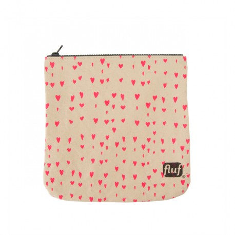 Organic Cotton Zipper Pouch - Hearts