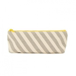 Organic Cotton Pencil Case - Grey Stripe