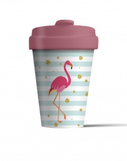 Bamboo Coffee Cup with Bamboo Lid - Flamingo