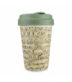 Bamboo Coffee Cup with Bamboo Lid - Music Notes