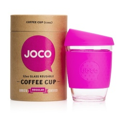 JOCO Cup Reusable Glass Coffee Cup 12oz - Pink