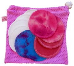 10 Organic Cotton Round Makeup Wipes + Organic cotton wash bag - Pink