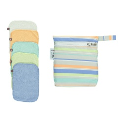 Pop-in 10 Reusable Bamboo Baby Wipes - Pastels (with wet bag)
