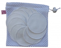 10 Undyed Organic Cotton Round Makeup Wipes + Organic cotton wash bag