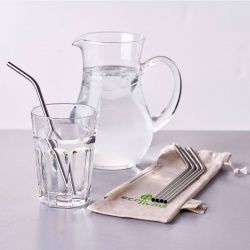5 Stainless Steel Drinking Straws with Plastic Free Cleaning Brush