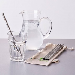 Smoothie Straws - 5 Stainless Steel Straws with Plastic Free Cleaning Brush